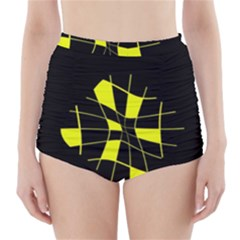 Yellow Abstract Flower High Waisted Bikini Bottoms
