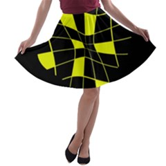 Yellow abstract flower A-line Skater Skirt
