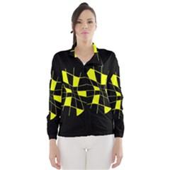 Yellow abstract flower Wind Breaker (Women)