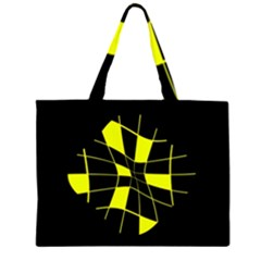 Yellow abstract flower Large Tote Bag