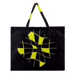 Yellow Abstract Flower Zipper Large Tote Bag