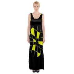 Yellow Abstract Flower Maxi Thigh Split Dress