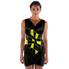 Yellow Abstract Flower Wrap Front Bodycon Dress