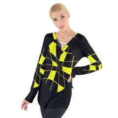 Yellow Abstract Flower Women s Tie Up Tee