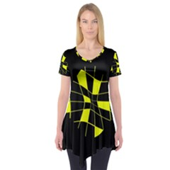 Yellow Abstract Flower Short Sleeve Tunic