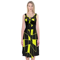 Yellow Abstract Flower Midi Sleeveless Dress