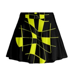 Yellow Abstract Flower Mini Flare Skirt