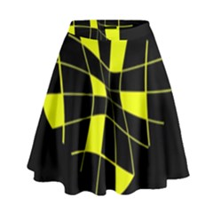 Yellow Abstract Flower High Waist Skirt
