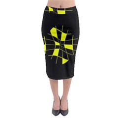 Yellow Abstract Flower Midi Pencil Skirt