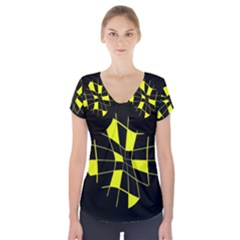 Yellow abstract flower Short Sleeve Front Detail Top