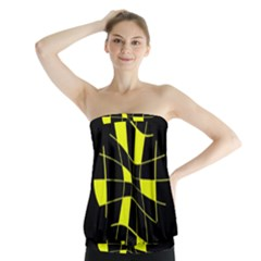 Yellow Abstract Flower Strapless Top