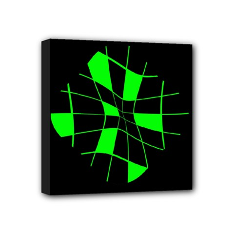 Green abstract flower Mini Canvas 4  x 4