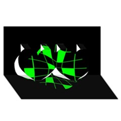 Green abstract flower Twin Hearts 3D Greeting Card (8x4)