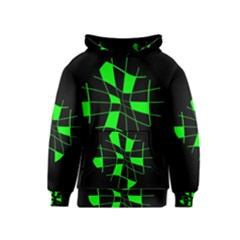 Green abstract flower Kids  Pullover Hoodie