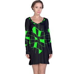 Green abstract flower Long Sleeve Nightdress