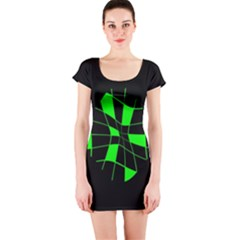Green abstract flower Short Sleeve Bodycon Dress