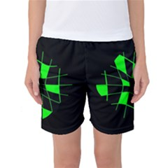 Green Abstract Flower Women s Basketball Shorts