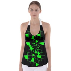 Green abstract flower Babydoll Tankini Top