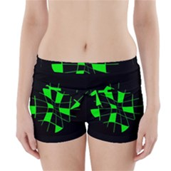 Green Abstract Flower Boyleg Bikini Wrap Bottoms