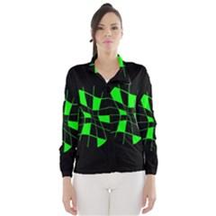 Green abstract flower Wind Breaker (Women)