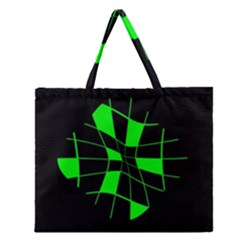 Green abstract flower Zipper Large Tote Bag
