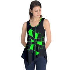 Green Abstract Flower Sleeveless Tunic