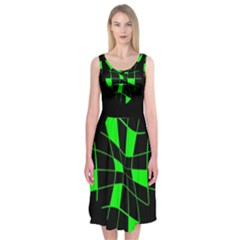 Green Abstract Flower Midi Sleeveless Dress