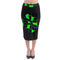 Green Abstract Flower Midi Pencil Skirt