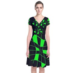 Green Abstract Flower Short Sleeve Front Wrap Dress