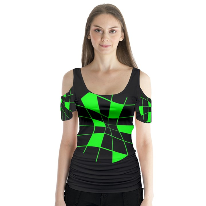 Green abstract flower Butterfly Sleeve Cutout Tee