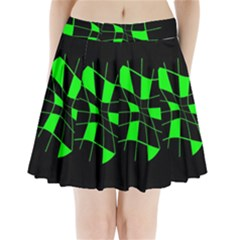 Green Abstract Flower Pleated Mini Mesh Skirt