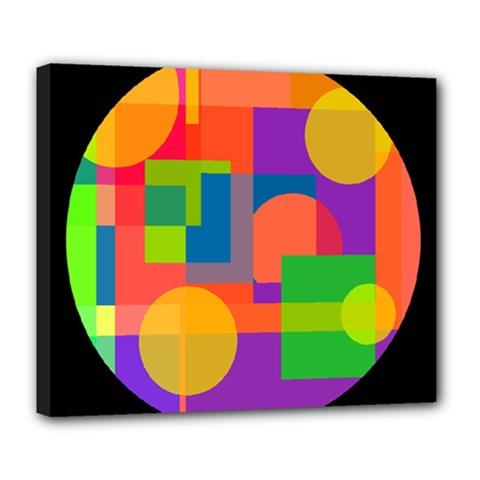 Colorful circle  Deluxe Canvas 24  x 20