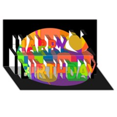 Colorful circle  Happy Birthday 3D Greeting Card (8x4)