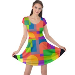 Colorful circle  Cap Sleeve Dresses
