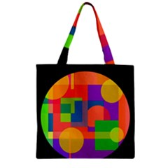 Colorful circle  Zipper Grocery Tote Bag