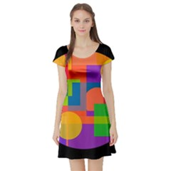 Colorful circle  Short Sleeve Skater Dress