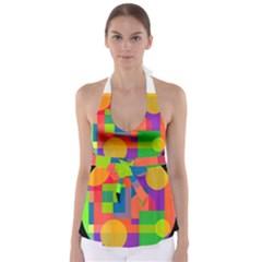 Colorful circle  Babydoll Tankini Top