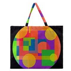 Colorful circle  Zipper Large Tote Bag