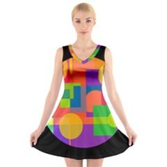 Colorful circle  V-Neck Sleeveless Skater Dress