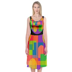 Colorful Circle  Midi Sleeveless Dress