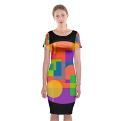 Colorful Circle  Classic Short Sleeve Midi Dress