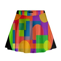 Colorful Circle  Mini Flare Skirt