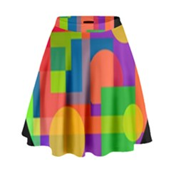 Colorful Circle  High Waist Skirt