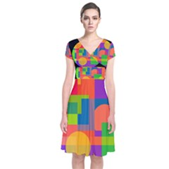 Colorful circle  Short Sleeve Front Wrap Dress