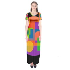 Colorful Circle  Short Sleeve Maxi Dress