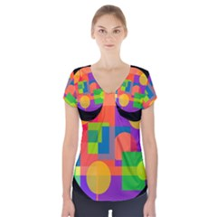 Colorful Circle  Short Sleeve Front Detail Top