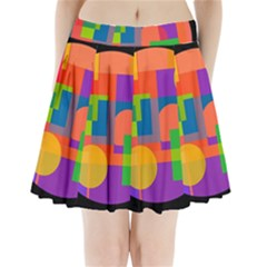 Colorful Circle  Pleated Mini Mesh Skirt