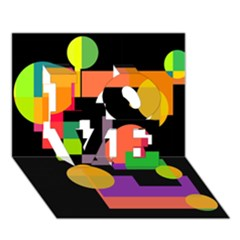Colorful abstraction LOVE 3D Greeting Card (7x5)