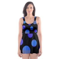 Blue circles  Skater Dress Swimsuit