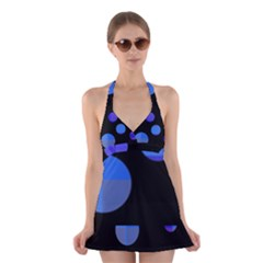 Blue circles  Halter Swimsuit Dress